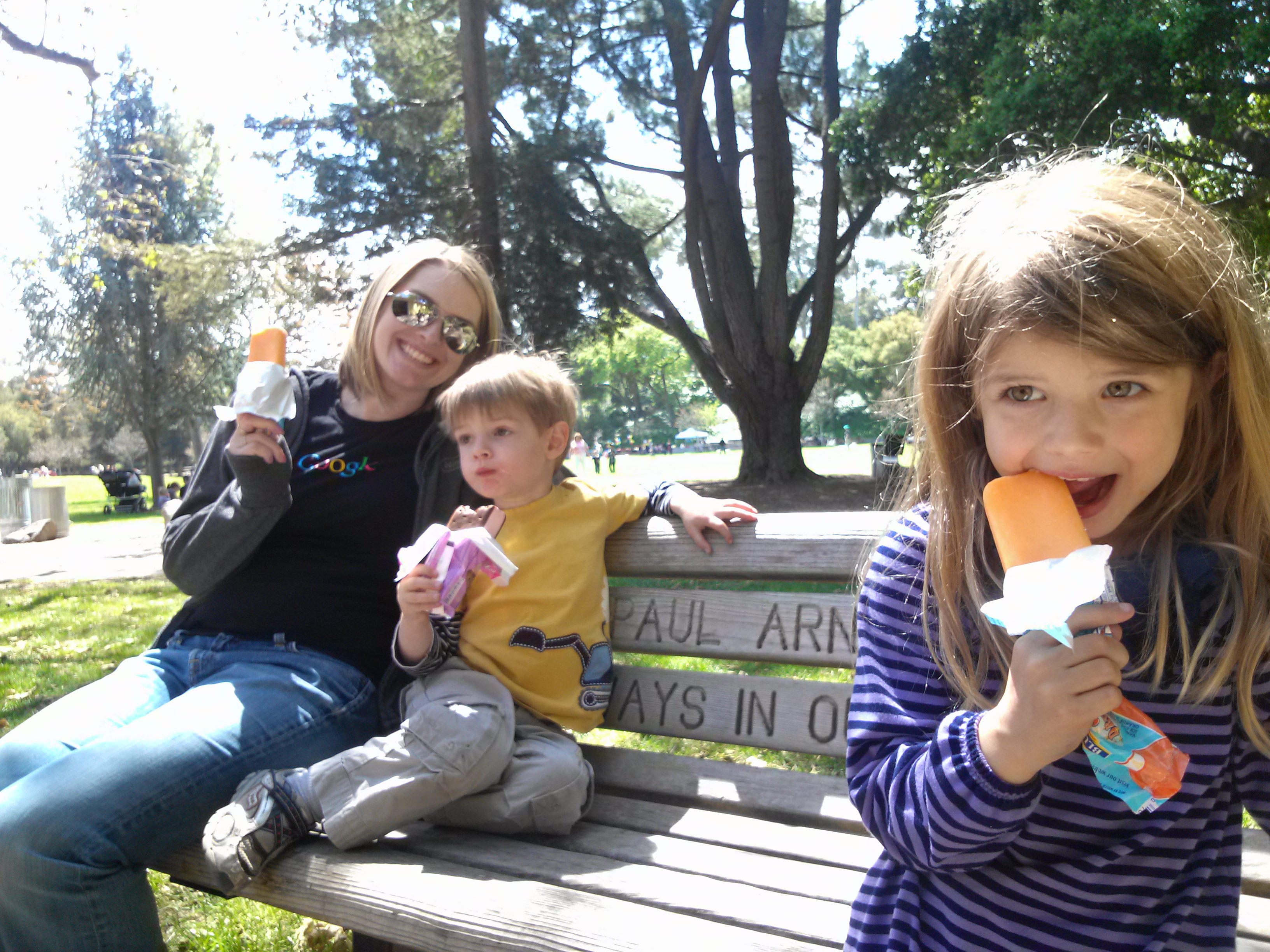 Family Eating Ice Cream On A Bench - Backpacking Dad